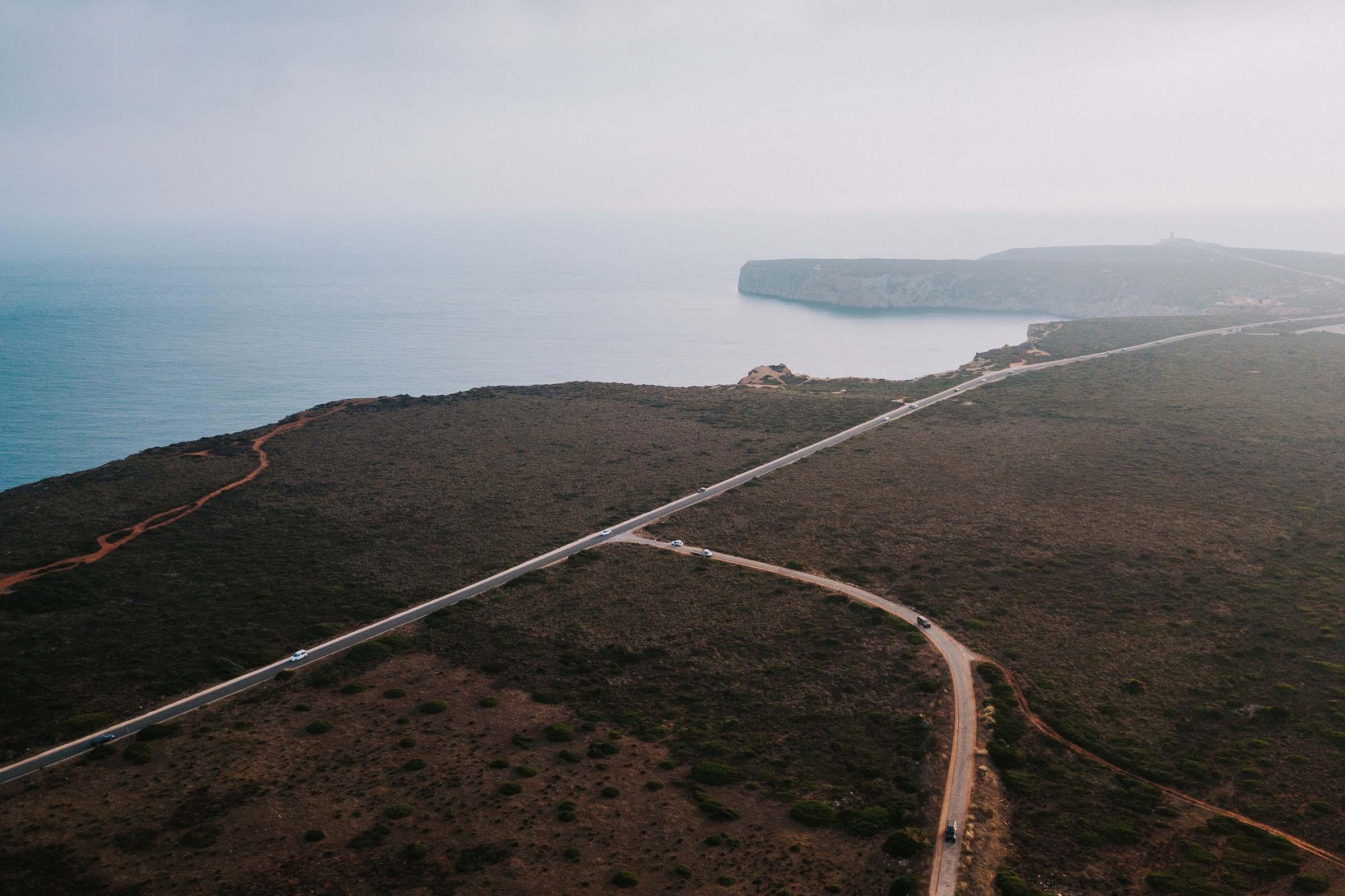 aerial view of sagres coast portugal