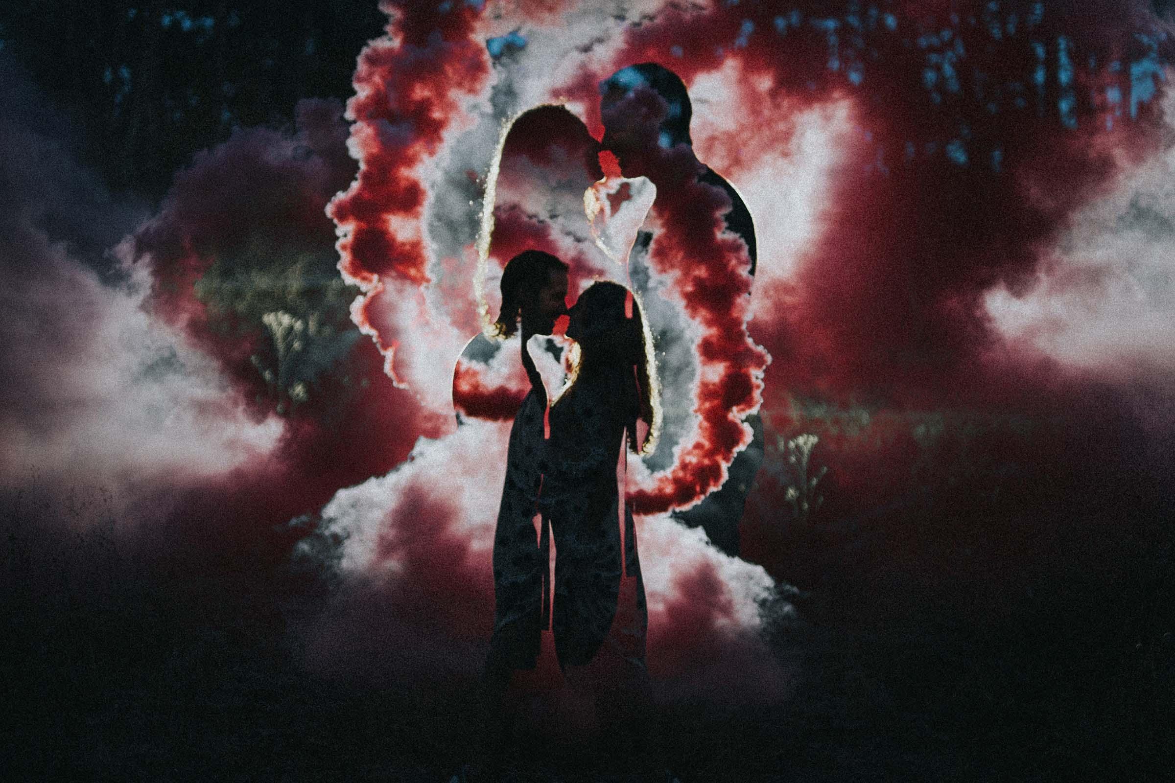 double exposure photography with smoke bombs
