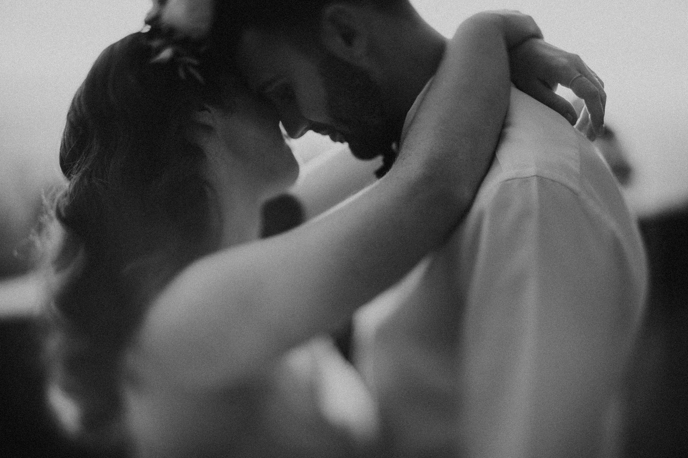 black and white smooth focus photo couple dancing close up