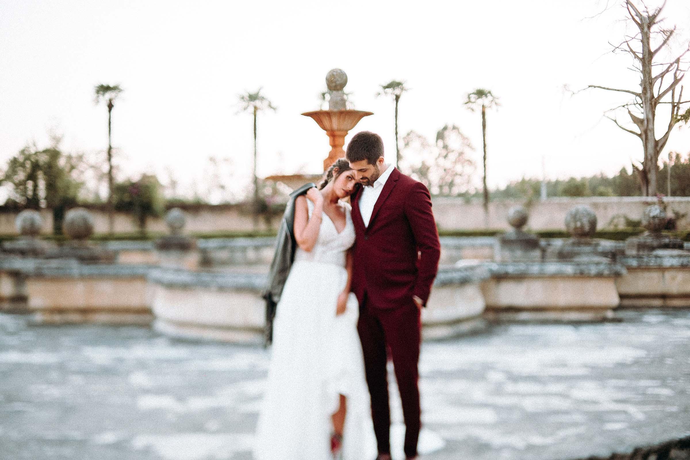 intimate wedding bride and groom