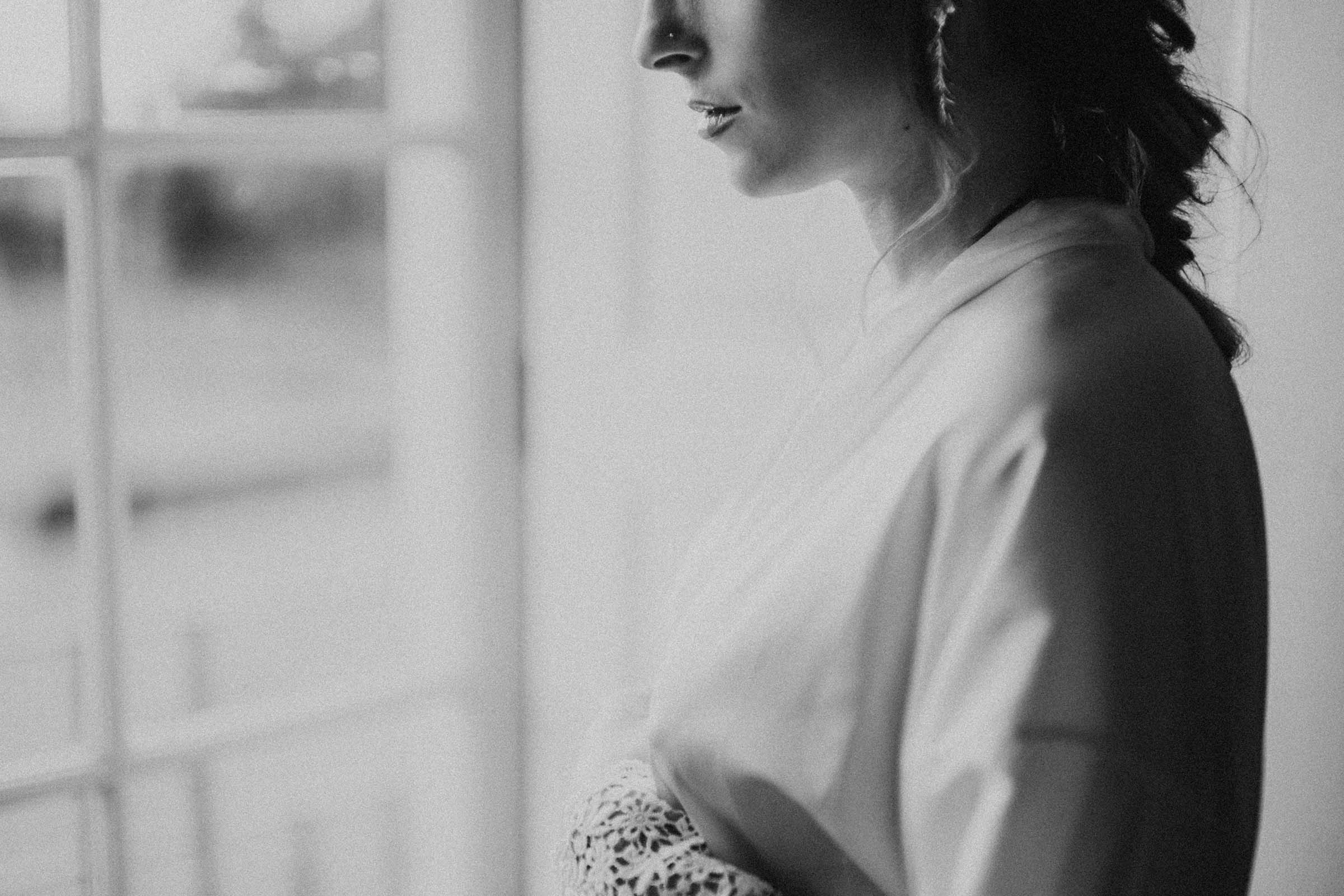 black and white close up photo of a brides profile