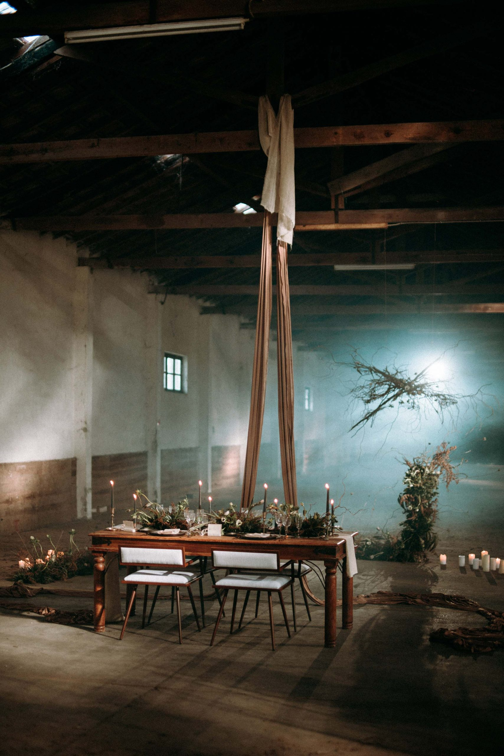 wedding decor in abandoned warehouse