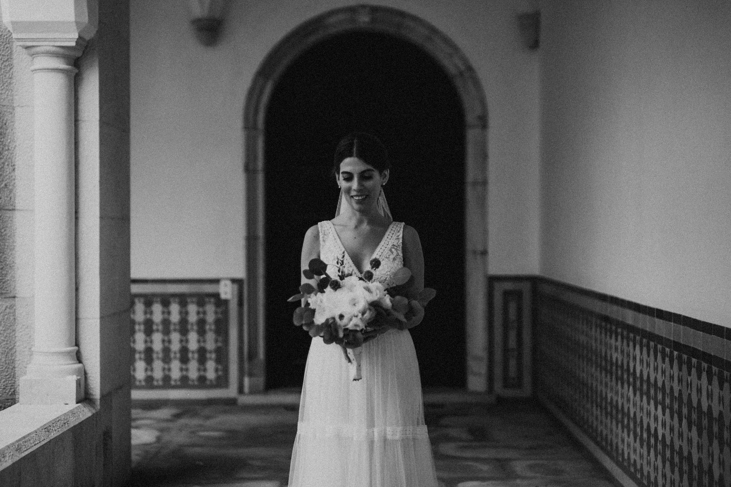bride nervous smile in black and white