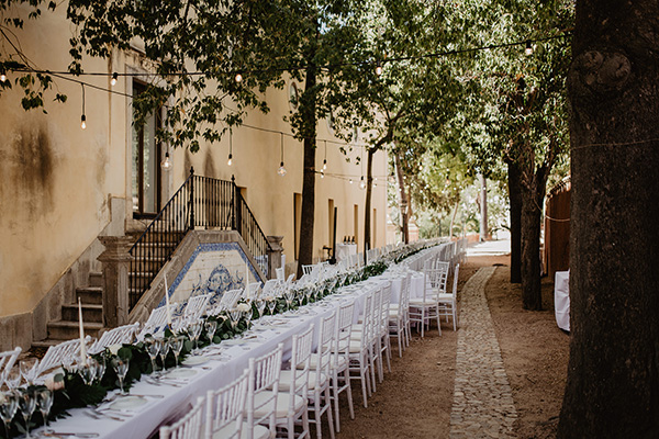 Estoi Palace wedding dinner alfresco